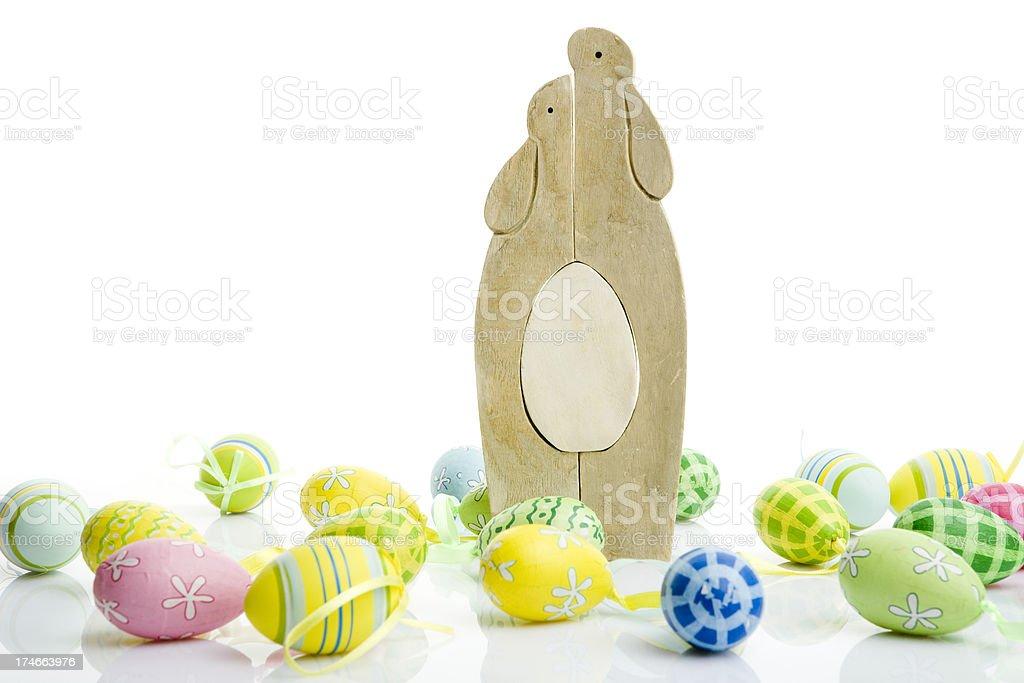 easter eggs on white background stock photo