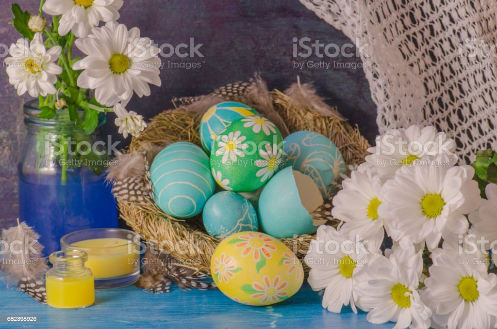 Easter eggs on wooden background royalty-free stock photo