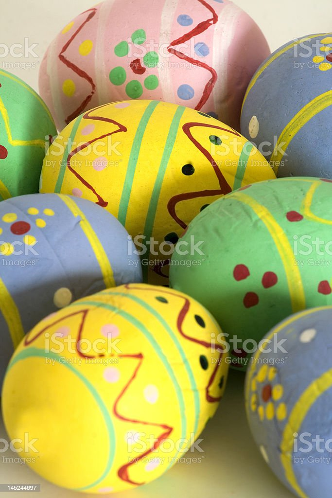 Easter eggs painted by hand stock photo