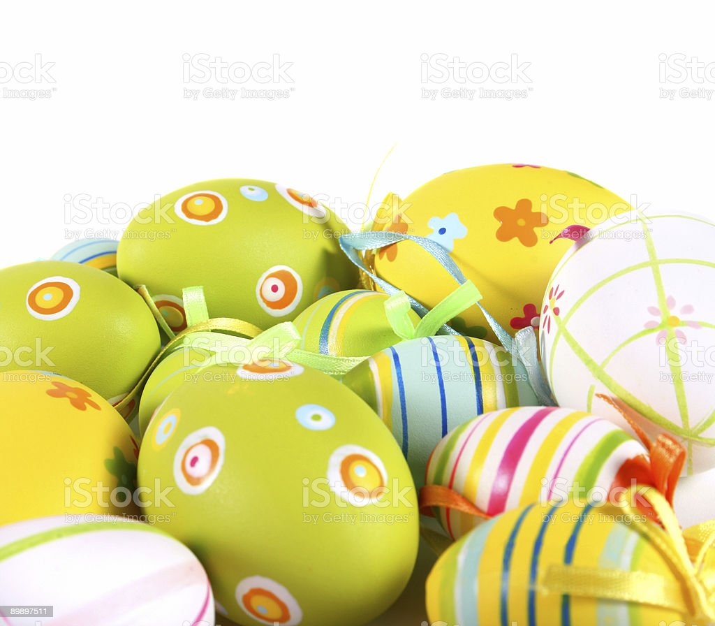 Easter eggs painted, isolated in white. royalty free stockfoto