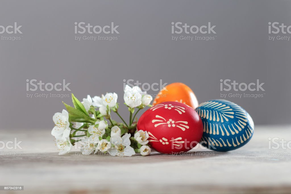 Easter eggs painted with beeswax in east European style stock photo