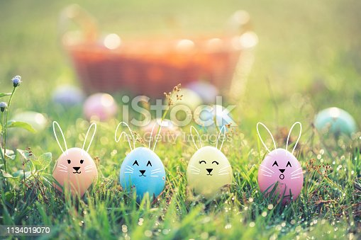 Happy Easter day,Funny easter eggs cute bunny.