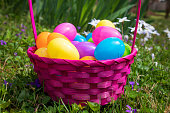 Easter Eggs in Pink Basket