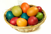easter eggs in a basket.Easter
