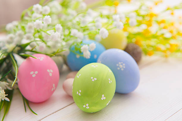 easter eggs - easter brunch stock photos and pictures