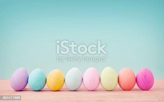 Vintage pastel colour of Easter eggs.