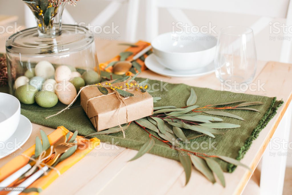 Easter Eggs Table Decoration Spring Home Decor Stock Photo