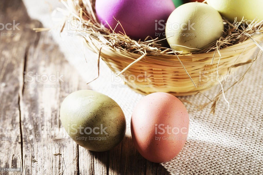 easter eggs tradition on wood royalty-free stock photo