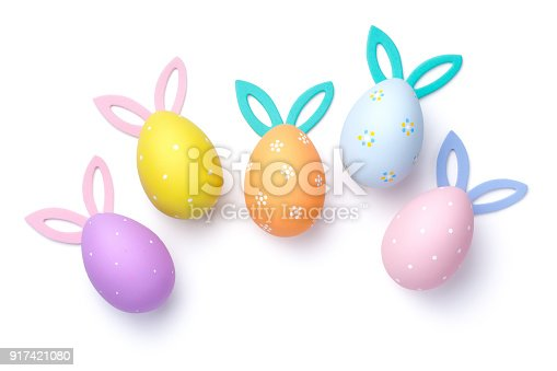 istock Easter Eggs with Bunny Ears Isolated on White Background 917421080