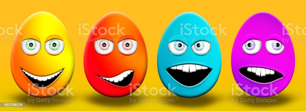 Easter Eggs With Eyes and Mouth Feeling Happy, Confused, Angry and Stupid 3D Illustration stock photo