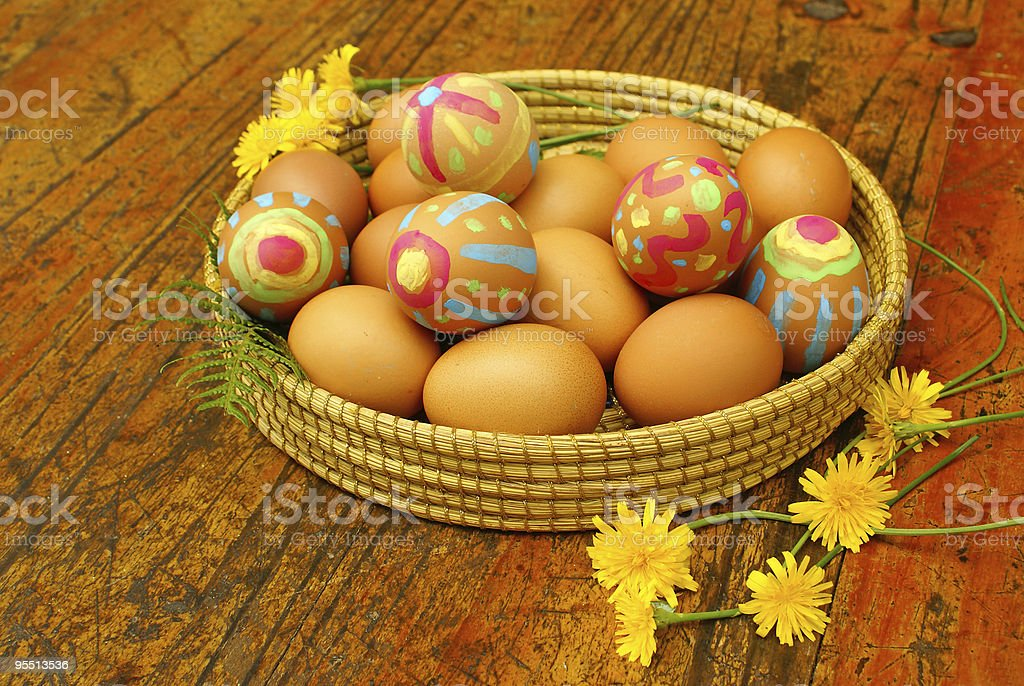Easter eggs with flowers royalty-free stock photo