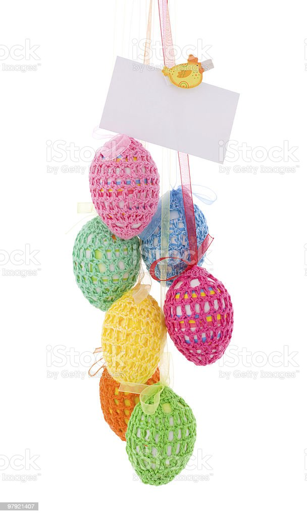 Easter Eggs with greeting card royalty-free stock photo