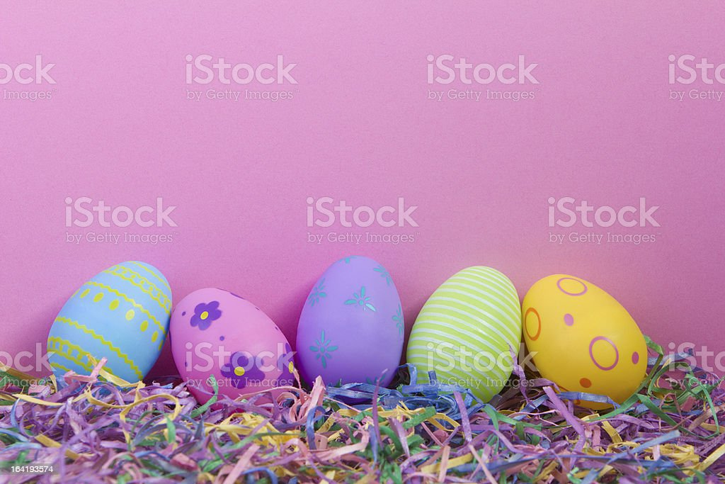 Easter Eggs with Pink Background royalty-free stock photo
