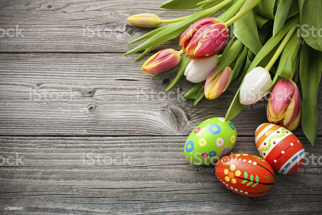 Easter eggs with tulips stock photo