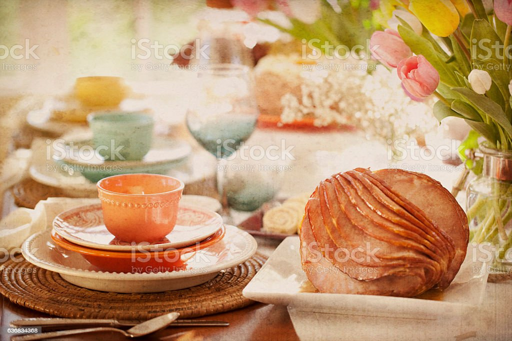 Easter Elegant Place Setting, Dining Table with Ham Dinner stock photo