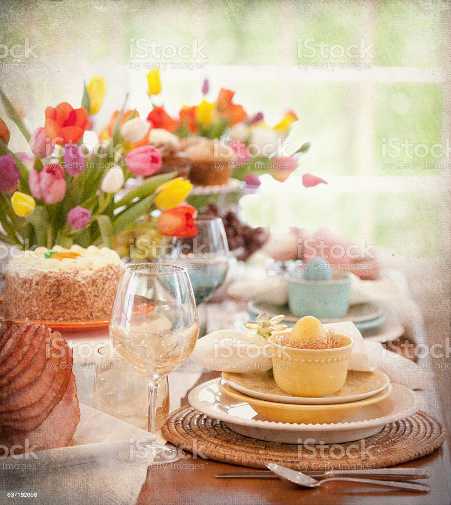 Easter Elegant Place Setting Dining Table with Ham Dinner royalty-free stock photo : setting dining table - pezcame.com