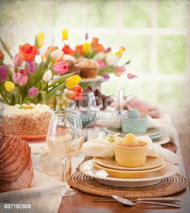 istock Easter Elegant Place Setting, Dining Table with Ham Dinner 637182658
