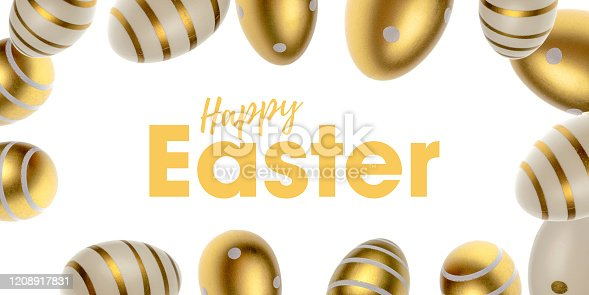 912300146 istock photo Easter falling golden shine decorated eggs in shape frame isolated on white background. For poster or flyer. 1208917831