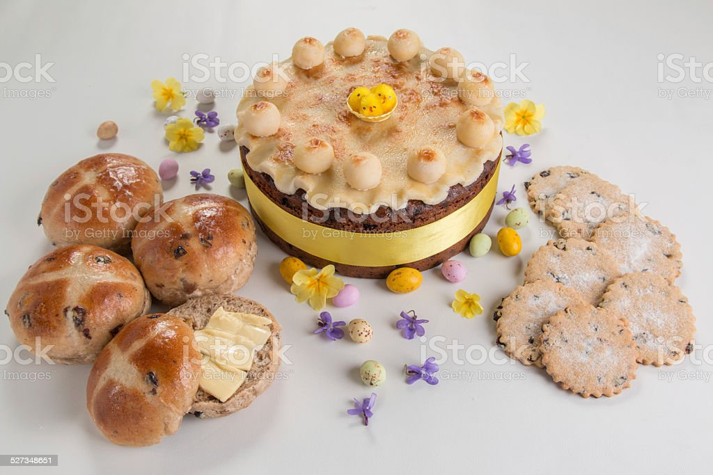 Easter fare, traditional simnel cake ,buns and biscuits stock photo