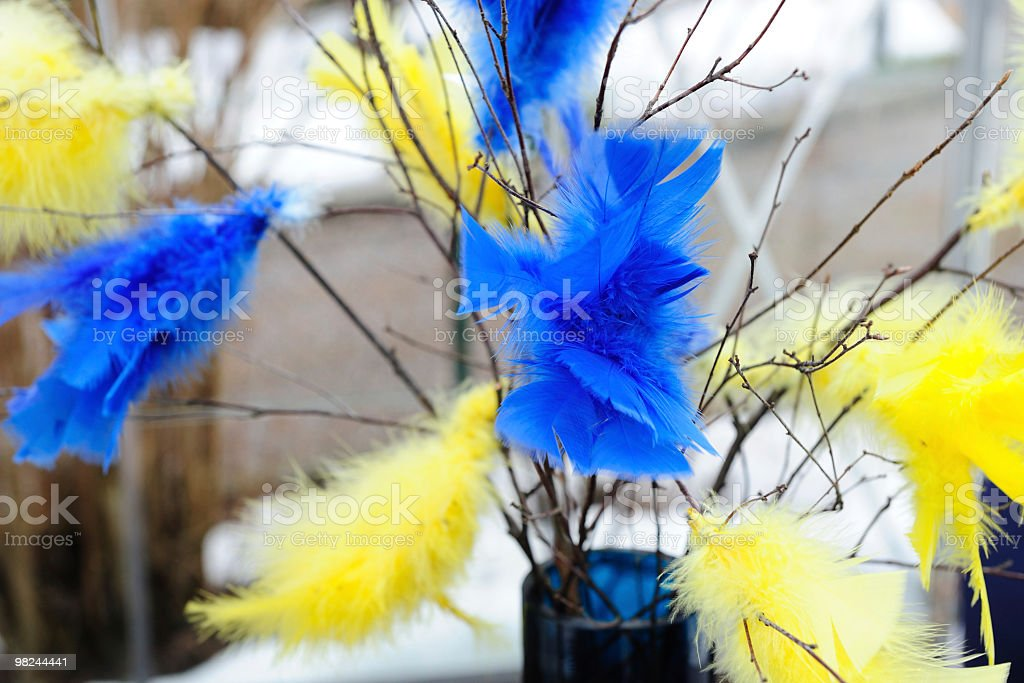 Easter feather decorations royalty-free stock photo