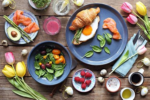 Easter festive brunch or breakfast table.