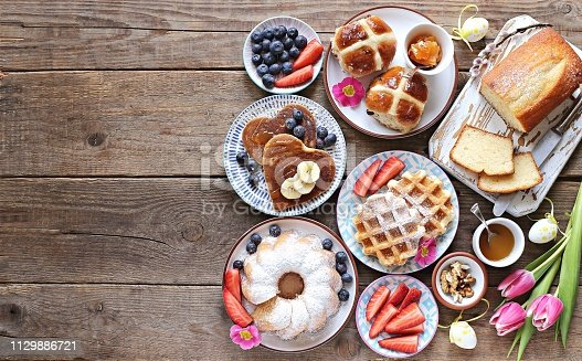 1131445181 istock photo Easter festive dessert table 1129886721