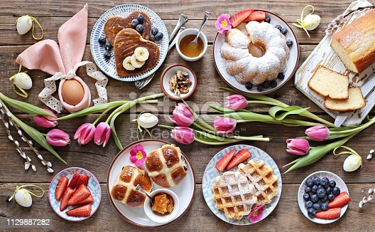 1131445181 istock photo Easter festive dessert table 1129887282