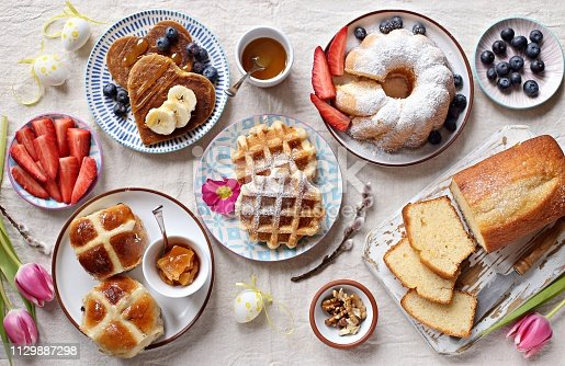 1131445181 istock photo Easter festive dessert table 1129887298