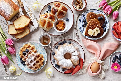 1131445181 istock photo Easter festive dessert table 1129887309