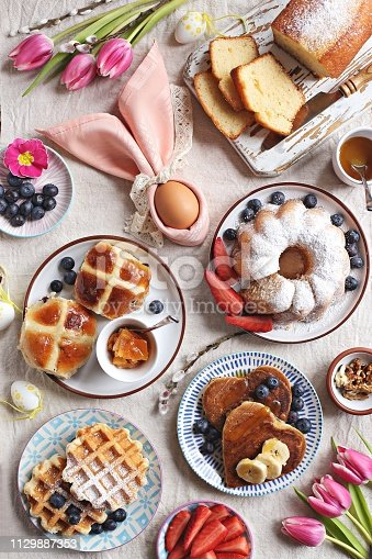 1131445181 istock photo Easter festive dessert table 1129887353