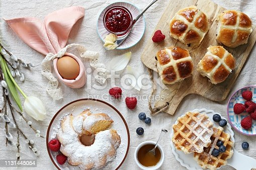 1131445181 istock photo Easter festive dessert table 1131445054