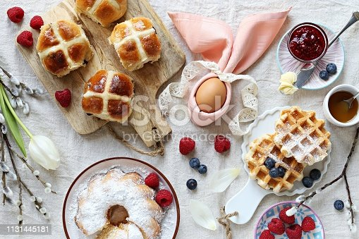 1131445181 istock photo Easter festive dessert table 1131445181