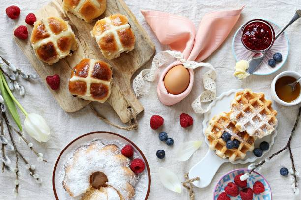 easter festive dessert table - easter brunch stock photos and pictures