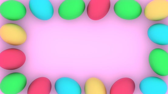 istock Easter frame. Eggs border with place for text. 3D-rendering. 1212025953