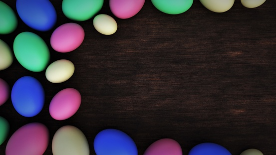 istock Easter frame. Eggs border with place for text. 3D-rendering. 1212025960