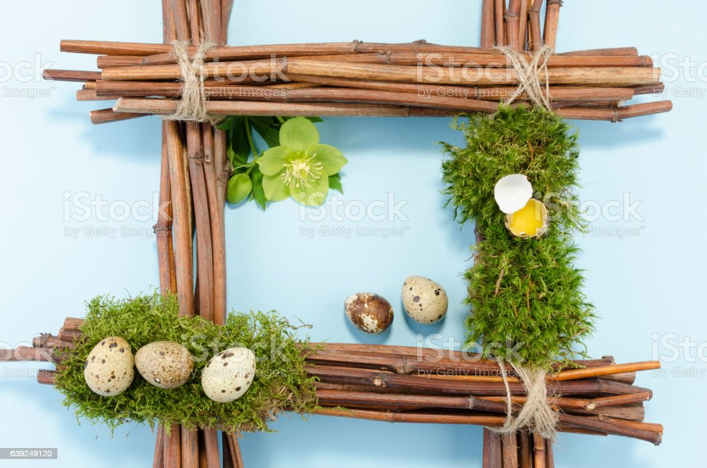 Easter frame with quail eggs stock photo