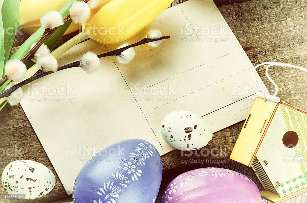 Easter frame with vintage postal card royalty-free stock photo