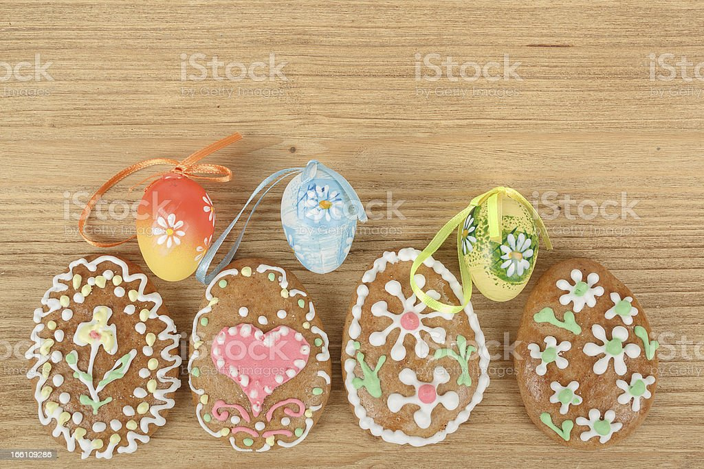 Easter ginger breads and painted egg royalty-free stock photo