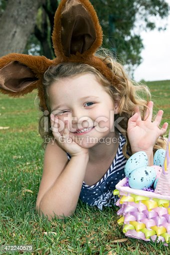 istock Easter Girl In Park 472240579