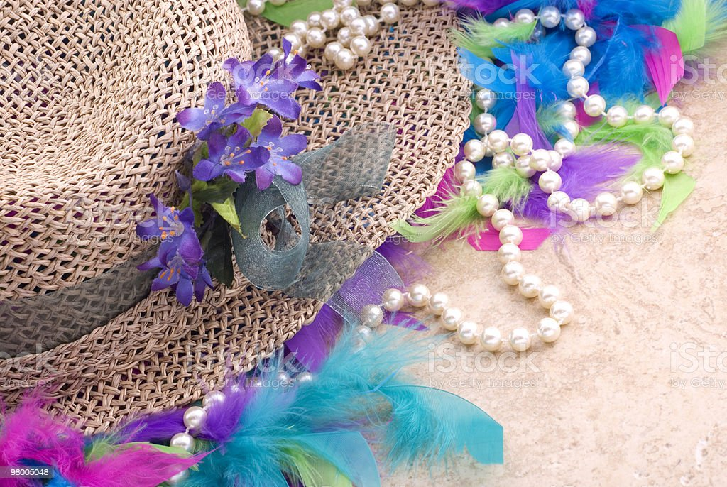 Easter Hat with Pearls and Boa royalty-free stock photo