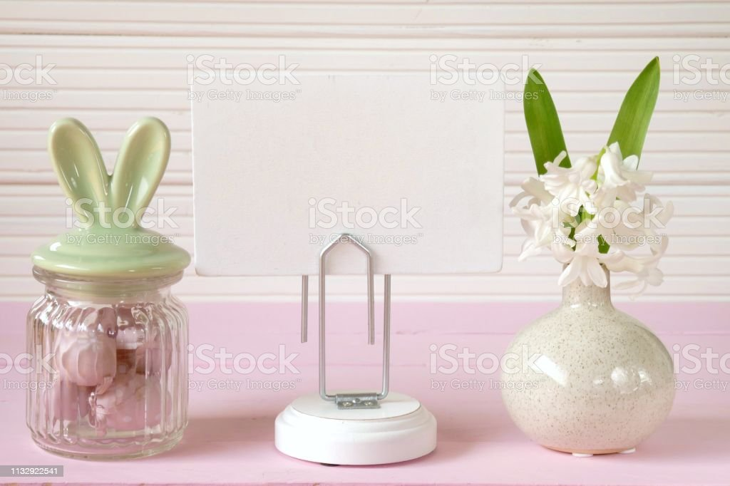 Easter holiday. Easter Mockup.decorative jar with bunny ears easter...