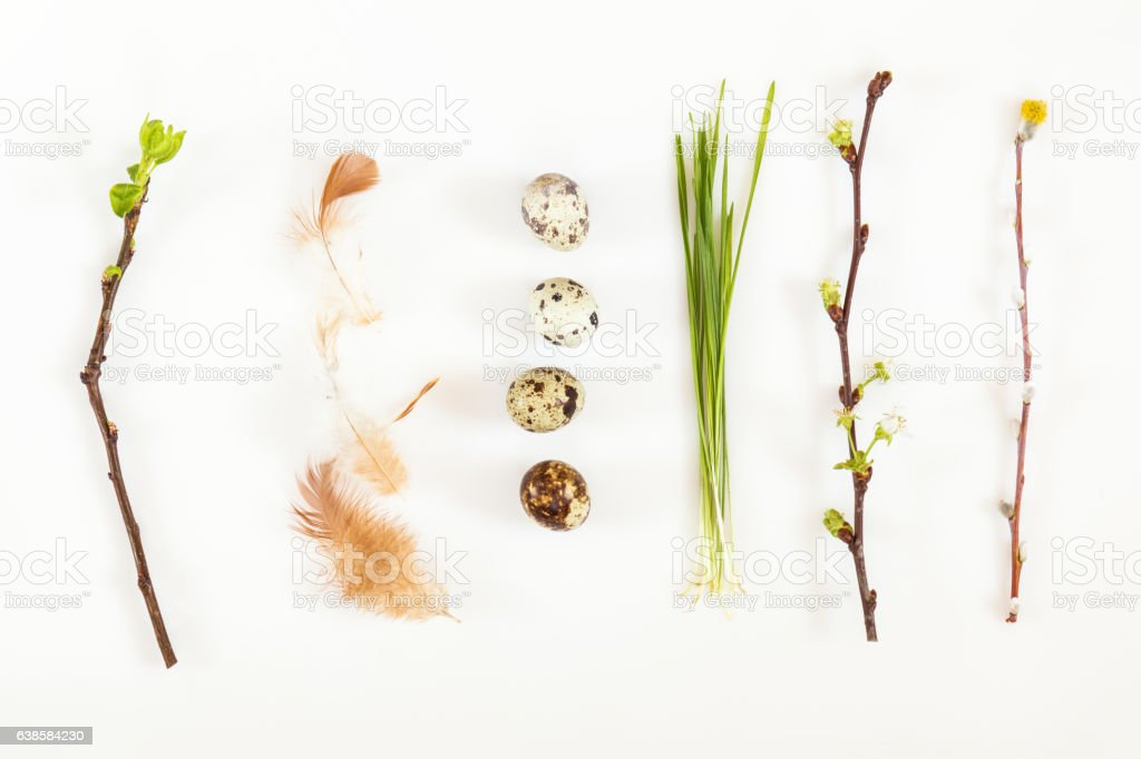 Easter holiday green attributes sets - foto de stock