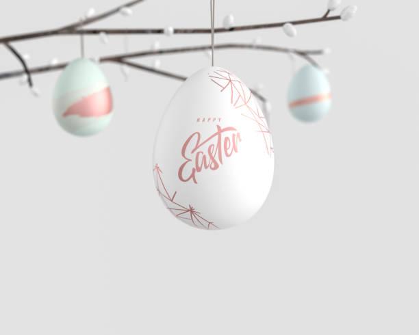 osterfeiertagen-bonier-banner, hängende ostereier auf ast, 3d rendering - flyer inspiration stock-fotos und bilder