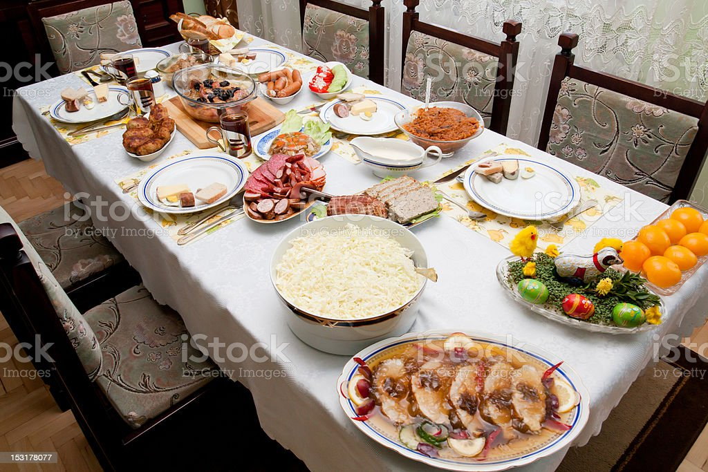 Easter Holiday table stock photo