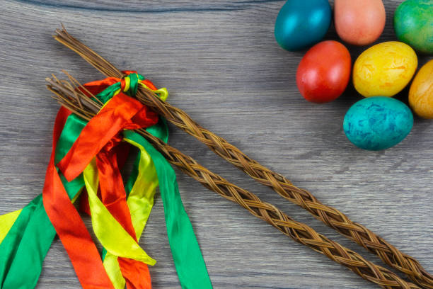 Easter holidays Czech rod with differently colored Easter eggs czech culture stock pictures, royalty-free photos & images