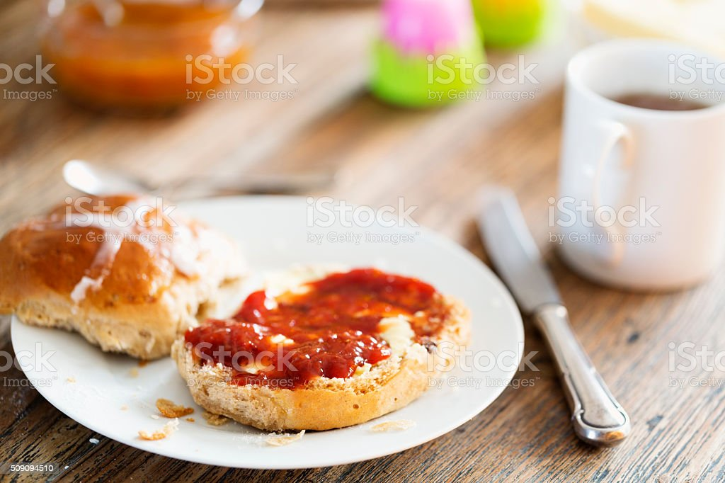 easter hot cross bun brunch stock photo