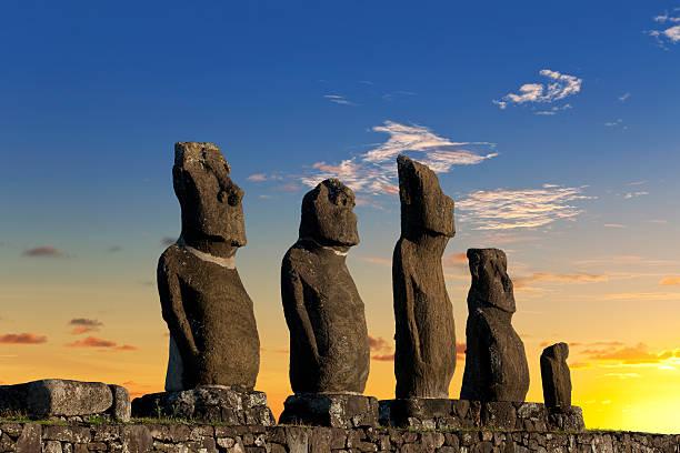 Easter Island Chile dawn over Moais at Ahu Tahai stock photo