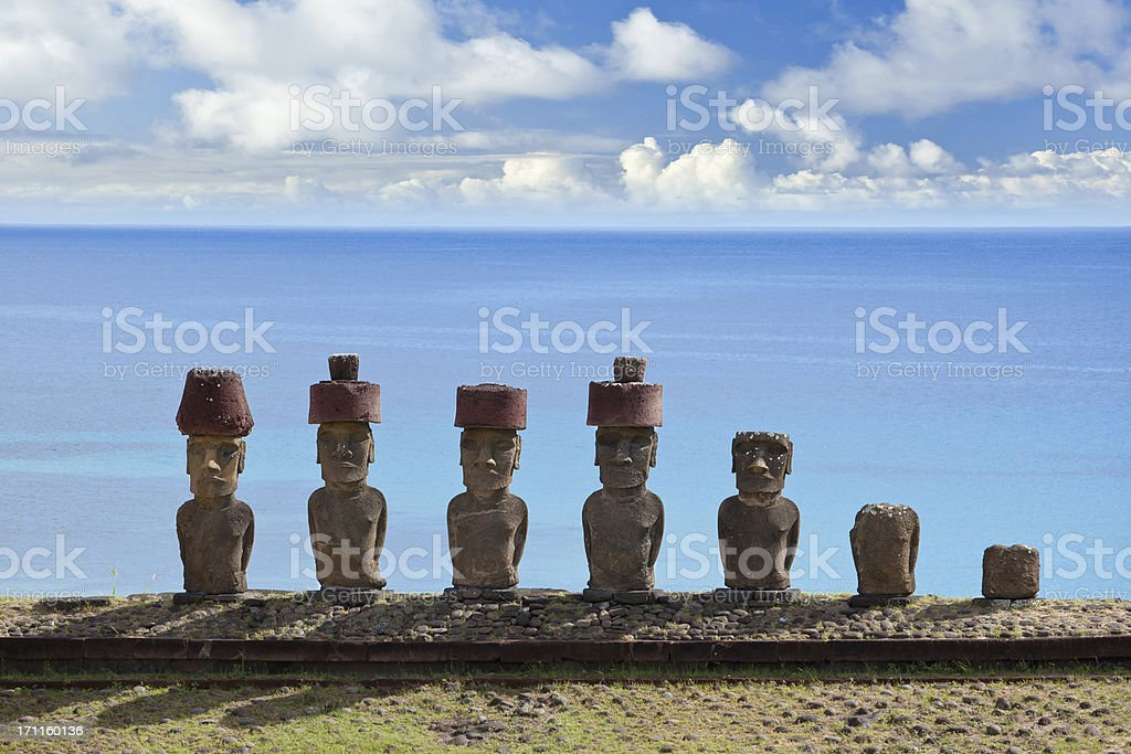 Easter Island Chile Moai at Anakena Beach stock photo