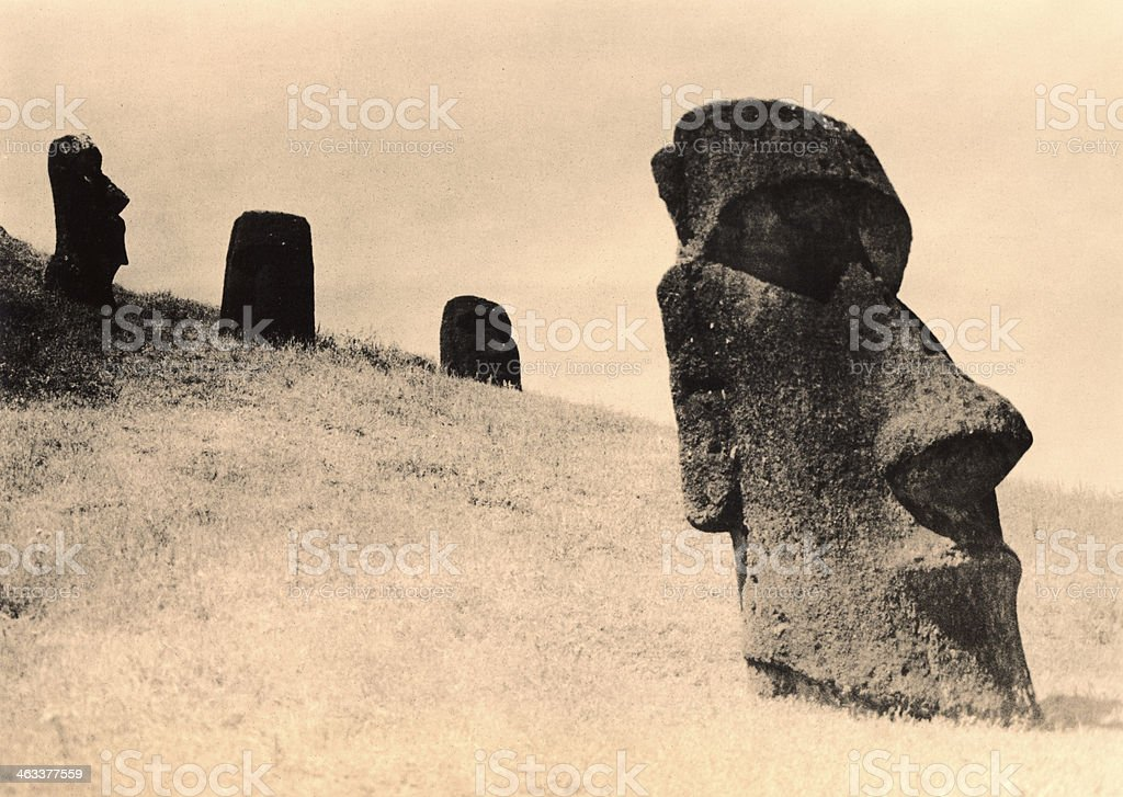 Easter Island Heads buried on a hillside. royalty-free stock photo