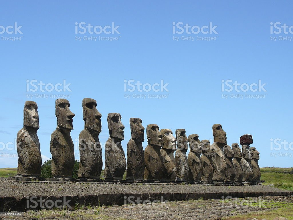 Easter Island heads royalty-free stock photo